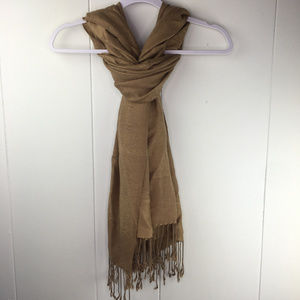 ~ 3 for $25 ~ Woven Tan Beige Subtle Floral Scarf